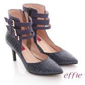effie 都市風情 全真皮絨面壓紋扣帶尖楦跟鞋  藍