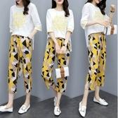 韓版二件式中大尺碼上衣褲子L-4XL夏季新款大碼女裝兩件套R05.7112胖胖唯依