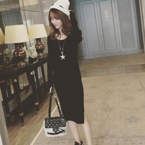 EASON SHOP(GU8670)韓版純色針織坑條紋下襬側開衩圓領長袖連身裙洋裝女上衣服彈力貼身包臀長裙長版