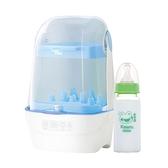 【奇買親子購物網】nac nac 觸控式消毒烘乾鍋T1(藍)+哈皮蛙 標準口徑玻璃奶瓶140ml*1