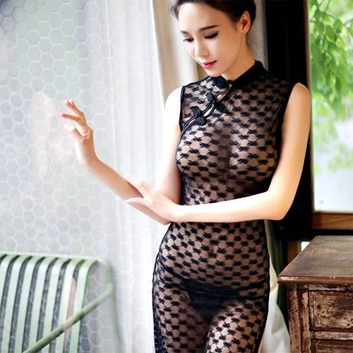 克妹Ke-Mei【AT49566】法式蕾絲  長夜漫漫性感釦環吊頸性感睡衣套裝(三款)
