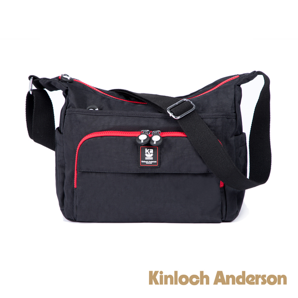 金安德森 極簡耀色 輕巧休閒前袋造型側背包 低調黑紅