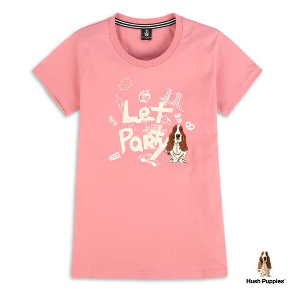 Hush Puppies T恤 女裝Let party塗鴉刺繡狗T恤