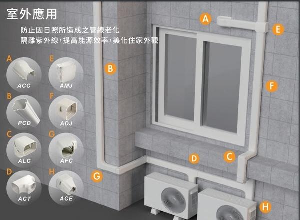 ACT-80  T型接頭  冷氣安裝  管槽  空調配管裝飾罩