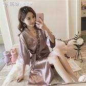 浴袍 性感睡衣薄款冰絲綢中長款日繫女士睡袍開衫浴袍寬鬆家居服 「繽紛創意家居」