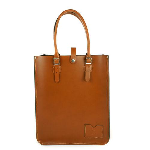 【The Leather Satchel Co.】英國原裝手工牛皮托特包 手提包 肩背包 壓釦設計 精湛工藝 (倫敦棕)