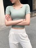 運動衫短袖 網紅健身服短袖女緊身性感運動上衣短款露臍速干t恤顯瘦瑜伽服夏 618搶購