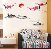 壁貼【橘果設計】山水畫 DIY組合壁貼 牆貼 壁紙 壁貼 室內設計 裝潢 壁貼