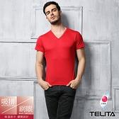 【TELITA】吸溼涼爽短袖T恤 V領衫 紅色