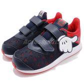 adidas 慢跑鞋 DY Mickey FortaRun CF I 藍 紅 緩震舒適 魔鬼氈 運動鞋 童鞋 小童鞋【PUMP306】 CQ0111