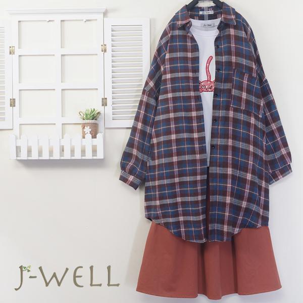 J-WELL 法蘭絨格紋上衣三隻小貓棉T裙子三件組(組合A470 9J1018紅+8J1420白+9J1051粉)
