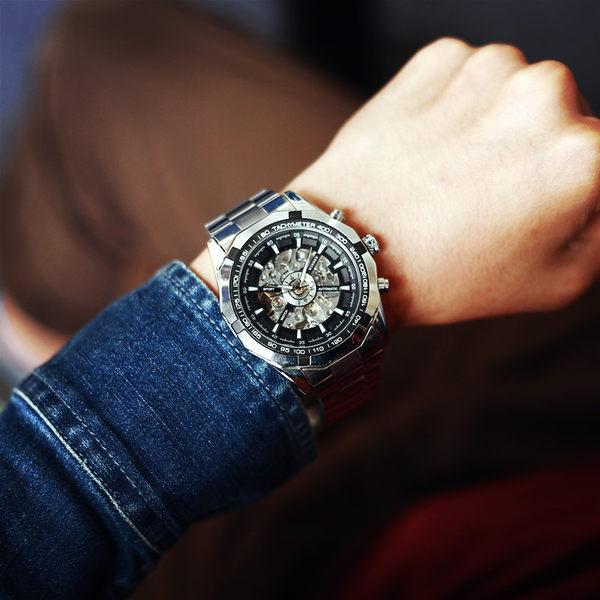 韓版時尚潮流男士手錶自動機械錶韓國精鋼休閒商務鏤空大錶盤男款【時尚家居館】