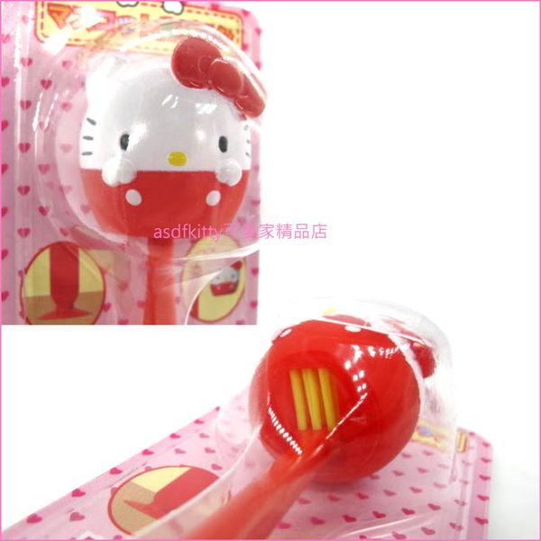 asdfkitty可愛家☆賠錢出清特價 KITTY造型蓋兒童牙刷附吸盤-可站立-日本正版商品