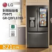 【結帳再折+分期0利率】LG 樂金 821公升 GR-QBFL87BS WIFI 敲敲看 門中門對開冰箱 星夜黑 台灣公司貨