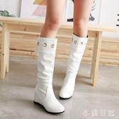 大碼新款靴子女鞋春秋冬季中筒靴高筒靴長靴內增高中跟白色黑色 qf7742【小美日記】