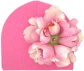 嬰幼兒保暖綿帽牡丹花淡粉白色糖果粉底Jamie 0416