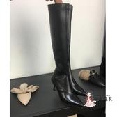 細跟膝上靴 2019秋冬新款尖頭騎士靴女韓版白色高跟細跟不過膝靴高筒靴長靴子 4色T