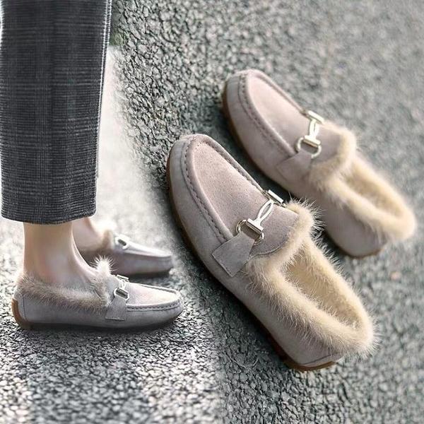 豆豆女2020年秋冬季新款厚底毛毛外穿加厚一腳蹬加絨護士棉鞋
