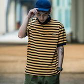 條紋帥氣寬鬆POLO男潮2019新款夏季港風潮牌翻領短袖T恤
