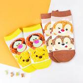 迪士尼TSUMTSUM系列直版親子襪 奇奇蒂蒂+小熊維尼 短筒襪 短襪 童襪 卡通印花襪 成人襪
