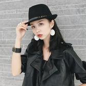 韓國秋冬英倫帽子時尚復古毛氈呢禮帽小沿卷邊男女士錐頂爵士帽潮