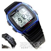 W-96H-2A CASIO卡西歐 電子錶方型 藍黑配色 鬧鈴 碼錶  兩地時間 男錶 34mm 時間玩家 W-96H-2AVDF