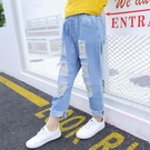女童夏季裝破洞牛仔褲子2019新款正韓兒童夏季薄款女孩洋氣休閒褲