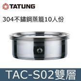TATUNG 大同 304不鏽鋼蒸籠【越南製造】TAC-S02【10-11人份】可搭配不鏽鋼電鍋【不包含電鍋】