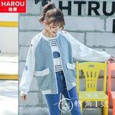 棒球外套 2018新款少女春秋裝外套初中學生韓版寬松百搭上衣服