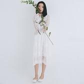 長袖洋裝-白色立領木耳邊蕾絲連身裙73xm49[時尚巴黎]