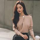 歐媛韓版 秋裝新款時尚女裝名媛立領氣質百搭寬鬆上衣 長袖韓國襯衫 潮