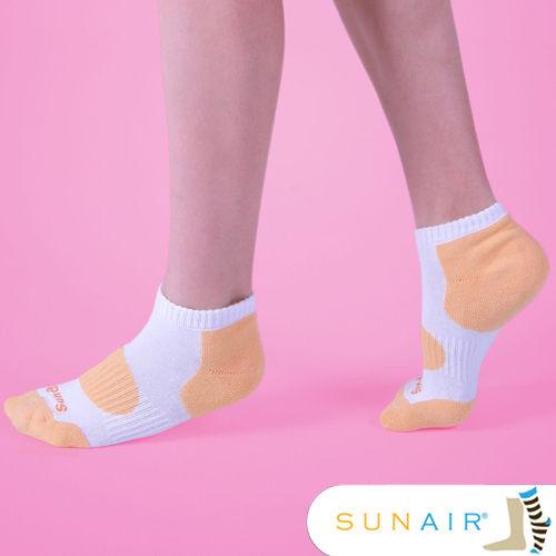 sunair 滅菌除臭襪子-自行車款短襪 (白+粉橙)M(21~24.5) /SA0201