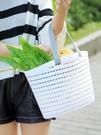 買菜籃 家用多功能買菜籃 塑料零食置物筐神器 浴室鏤空收納筐手提澡籃子 快速出貨