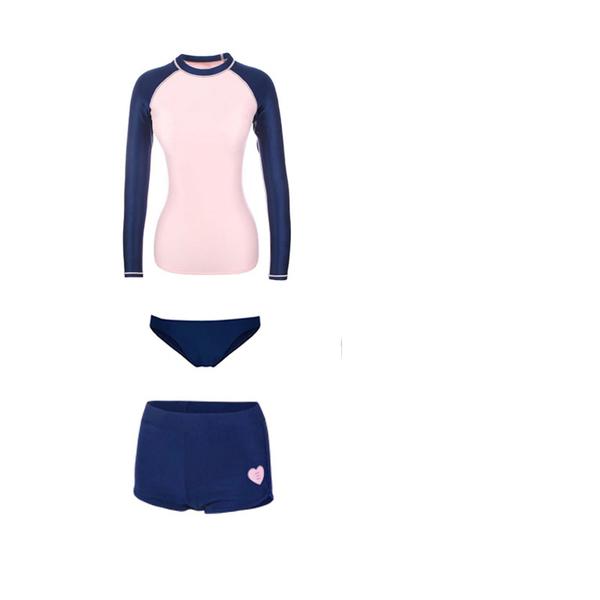 配色保守不露胸 水母圖樣 二件式 長袖泳裝 防曬運動型 比基尼 集中鋼圈+顯瘦翹臀 泳衣