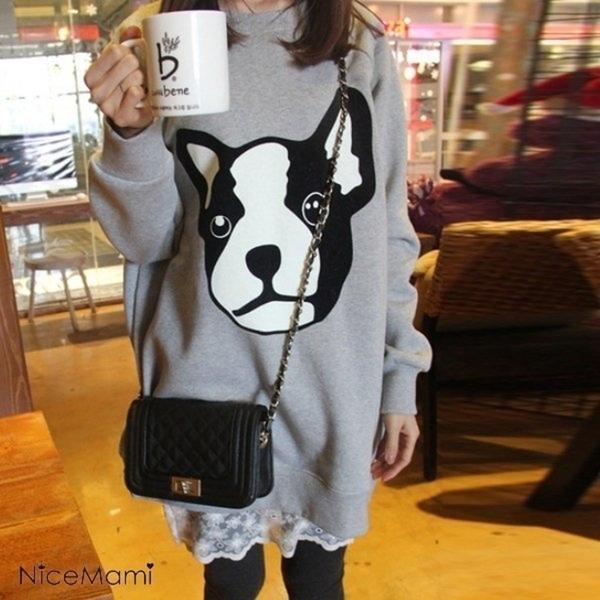 漂亮小媽咪 LOVELY洋裝 【D9025】 狗狗 長袖 加大 寬鬆 長版T 孕婦裝 蕾絲 拼接洋裝
