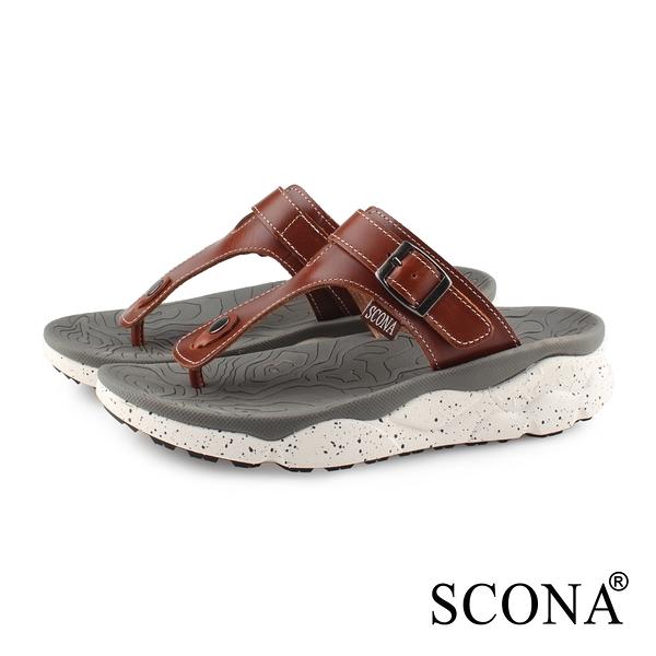 SCONA 蘇格南 真皮 運動休閒舒適夾腳涼鞋-男款 淺咖色 1751-2