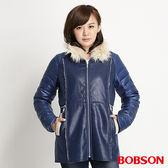BOBSON 女款麂皮貼合毛絨外套(寶藍34113-54)