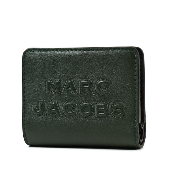 美國正品 MARC JACOBS 浮雕LOGO牛皮釦式短夾-墨綠【現貨】