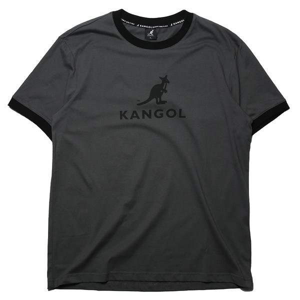 KANGOL 短袖 短T 袋鼠 深灰黑 滾黑邊 大LOGO 男 (布魯克林) 6125101410