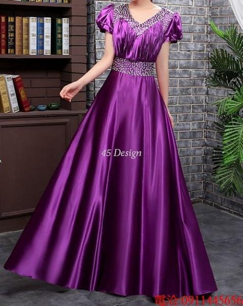 (45 Design)  7天到貨 長禮服伴娘禮服 結婚晚禮服姐妹裙長版禮服 韓式 洋裝 新娘敬酒服 連身裙1