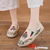 漁夫鞋 透氣一腳蹬平底淺口繡花漁夫鞋女中國風老北京刺繡布鞋女京劇臉譜