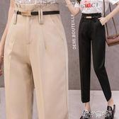 黑色西裝褲女夏直筒寬鬆工裝褲休閒花苞褲高腰九分顯瘦百搭小西褲 S-2XL 交換禮物