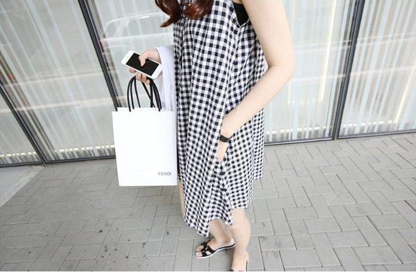 漂亮小媽咪 無袖棉麻背心裙 【D1997TZ】 格紋 無袖 開釦 孕婦裙 孕婦裝洋裝