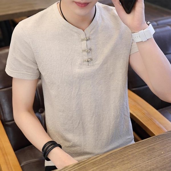 中國風男士亞麻短袖t恤韓版復古立領半袖衣服棉麻男裝打底體恤潮 百分百