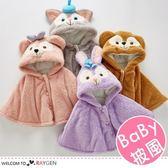 兒童卡通動物大臉造型連帽毛絨披風 外套