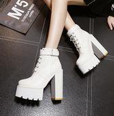 15cm恨天高鞋女2015新款超高跟靴子女粗跟短靴白色系帶馬丁靴冬季