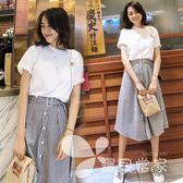 2018春夏新款韓版名媛小香風a字連身裙兩件套時尚chic時髦套裝女