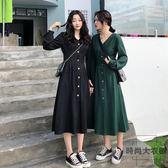 大碼女裝法式復古少女顯瘦連身裙【時尚大衣櫥】