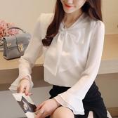 秋裝新款長袖雪紡衫OL職業大蝴蝶結超仙甜美喇叭袖白襯衫春裝 居享優品