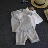 夏季兒童西裝小禮服英倫男童馬甲三件套寶寶套裝花童六一婚禮服 滿天星